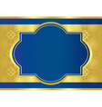 blue card with golden center frame vector image vector image