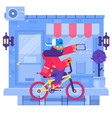 hipster man cycling his fixie bike in urban vector image vector image