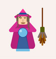 evil witch with ball of predictions and broom vector image