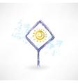 plate sun grunge icon vector image