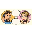 Vintage couple man and woman talking on the phone vector image