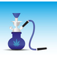 Blue and silver water pipe with canabis symbol vector image