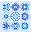 blue circle lace ornament round ornamental vector image