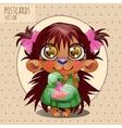 Cute character hedgehog girl series cartoon vector image
