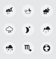 set of 9 editable weather icons includes symbols vector image