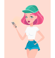 Young hipster girl holding smartphone in her hand vector image