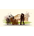 kissing couple in historical square vector image