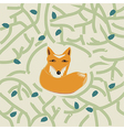 a cute little fox in a forest vector image vector image