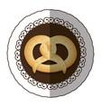 emblem color pretzel bread icon vector image