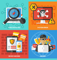 hackers square compositions set vector image