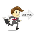 happy businessman running with briefcase to job vector image