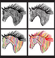 horse head paint set wild animal sign vector image