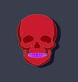 human skull paper sticker on stylish background vector image