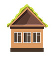 small house with plastic windows and green roof vector image