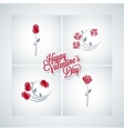 valentines day rose set design background vector image