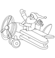 Santa on the Plane coloring page vector image vector image