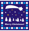 Dark blue Christmas card with Merry Christmas wish vector image vector image