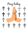 catholic praying hands holding beads vector image vector image