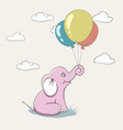 cute pink elephant playing with balloons vector image