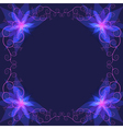 Decorative ornamental frame with blue flower vector image vector image