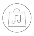 Bag with music note line icon vector image