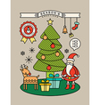 Colorful Christmas tree Santa Claus cartoon vector image