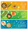 Set of banners for theme healthy foodvegetarians vector image