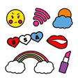 Colorful patches collection with smile face vector image