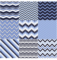 seamless blue zig zag set vector image vector image