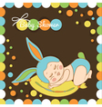 card with the birth of a child in bunny costume vector image