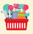 Utensil In Shopping Basket vector image