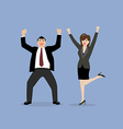 Business man and business woman celebrating vector image vector image