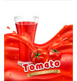 background with a glass of tomato juice tomato vector image