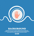Hand print sign icon Stop symbol Blue and white vector image