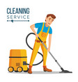 office cleaner work wiping dusting vector image