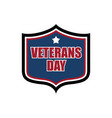 Veterans day shield emblem us military holidayl vector image