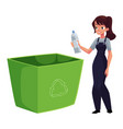 young woman throwing plastic bottle in trash vector image