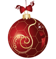 Christmas ball red and gold design vector image vector image