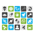 Silhouette astronomy and space icons vector image vector image