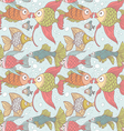 Seamless ornament variety of fish in the water vector image