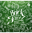 back to school chalkboard with doodles vector image