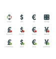Currency Exchange color icons on white background vector image
