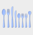 cutlery set icons fork spoon usual than vector image