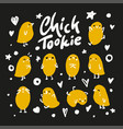 set of cute cartoon chickens for easter design vector image