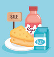 supermarket set products icon vector image
