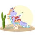 unicorn sits on a deckchair vector image