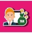man smartphone tax money vector image