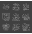 Tourism and travel white line detail icons vector image