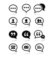 Speech bubble blog contact icons set vector image