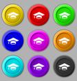 Graduation icon sign symbol on nine round vector image